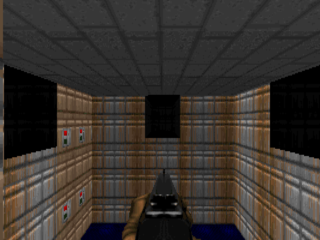 The opening screen from the southern deathmatch spawn position.